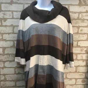 XL striped cowl necked long sweater